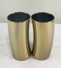 Set of 2 Leonardo Swing GOLD Highball Drinking Glasses Tumblers GERMANY 12 oz.
