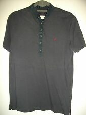 * ALLSAINTS * CHARCOAL GREY COTTON FINE JERSEY KNIT POLO SHIRT SIZE M RRP £75