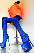 UNIQUE MADE IN ITALY HIGH HEELS SEXY BOOTS DAMEN STIEFEL LEATHERETTE 1 BLUE 45
