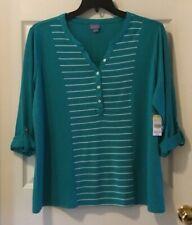 Laura Scott Long Sleeved Shirt Henley Top Striped XL Green New!
