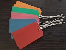 25 COLOURED STRUNG LUGGAGE TAGS 120MM X 60MM GIFT PARCEL LABELS TIE ON TICKETS