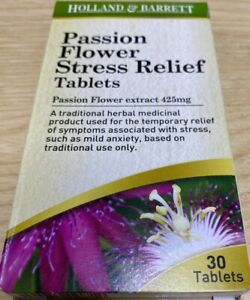 Passion Flower Stress Relief Tablets Flower Extract 425mg 30 Tablets Expiry 2023