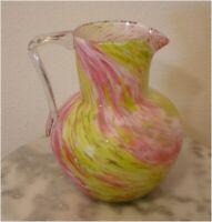 European Victorian Pink Yellow Swirl Spatter Art Glass Pitcher
