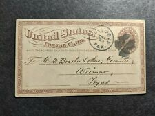 1875 COLUMBUS to WEIMAR, TEXAS Postal History Cover w/ note