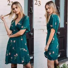 Women Floral Print Short Sleeve Boho Evening Party Beach Short Mini Wrap Dress