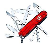 Victorinox HUNTSMAN RUBY Swiss Army Knife W/ Leather Clip Pouch - SWITZERLAND