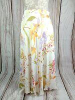 Vintage St Michael Floral Pastel Chiffon Floaty Flare Skirt Size 16 W30