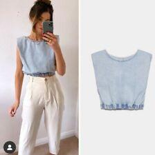 Zara Denim Top With Shoulder Pads Size L