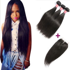 8A Brazilian Straight Virgin Hair 3 Bundles With Closure Remy Human Hair Weave