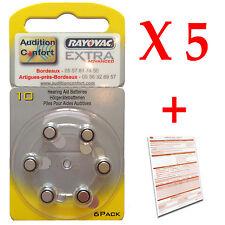 5 plaquettes de 6 piles auditives 10 (PR70) RAYOVAC pour appareils auditifs