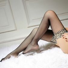 Leopard Side Thigh High Socks Sexy Stockings Over Knee Scoks Mesh Suspenders