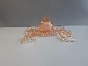 Vintage pink glass dressing table set