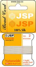 SILK ( white)  bead cord  Natur-Perlseide 10 asstd cards w/needle(bcSILKx10)