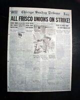 SAN FRANCISCO CA West Coast Waterfront Longshoreman's STRIKE 1934 Old Newspaper