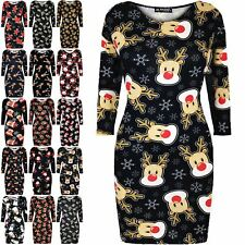 Womens Ladies Christmas Xmas Santa Reindeer Rudolph Gift Star Bodycon Mini Dress