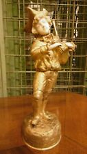 Antique Bronze figure chriselefantine of a musician bagpipe signed