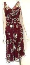HOBBS 100% silk wine claret burgundy silver floral sequin dress Size 10