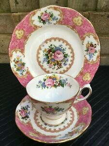 Pristine Royal Albert Lady Carlyle Trio Tea Cup Saucer & Side Plate