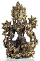 Grüne Tara / Green Tara - Messing 4,3 cm - Ministatue - Handarbeit aus Nepal