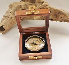 Sonnenuhr Kompass antik Ø:5,5cm mit Holzbox & Glasdeckel ca. 8,5 x 8,5 x 3,5 cm