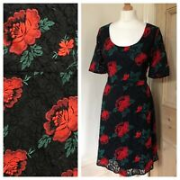 Stunning Phase Eight Dress Size 16 Black & Red Floral Lace Rose Evening Ladies