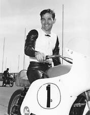 OLD LARGE MOTOR RACING PHOTO, Bart Markel on his Harley Davidson motorcycle 1965