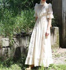 Vintage Prairie Dress Lace Ruffle White Maxi Flower Child Boho Sun Dress S