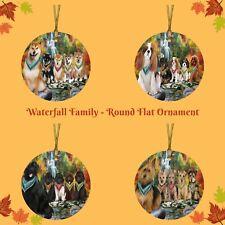 Scenic Waterfall Round Flat Christmas Tree Ornament, Dogs, Cat, Pet Photo Gift