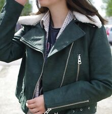 Zara Black PU Faux Leather Effect Biker Jacket Detached Fur Collar 3046/239 M 10