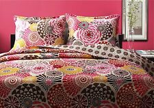 BIANCA Full Queen QUILT SET : GREENLAND RED PINK BROWN MODERN  FLORAL GEOMETRIC