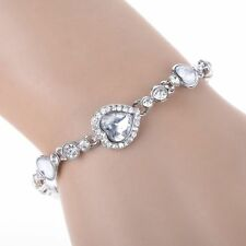 New Fashion Women Girls Heart of Ocean Crystal Rhinestone Bangle Bracelet Gifts