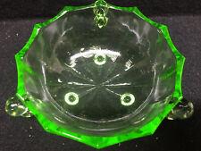 Vaseline Green glass Uranium jam soap dish sauce bowl nappy candy ice cream art