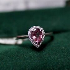 Pear Shaped Pink Sapphire and Diamond Ring