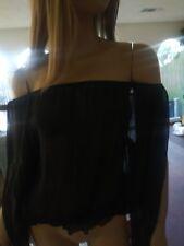 Armani Off Shoulders Silk Black Small Top