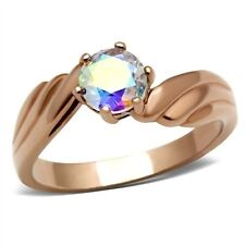 14K ROSE GOLD EP 1.0CT MYSTIC TOPAZ SOLITAIRE RING WOW size 5 - 9 you choose