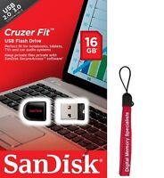 SanDisk 16GB USB SD CZ33 Cruzer Fit 16G USB 2.0 Flash Drive SDCZ33-016G + Lanyar