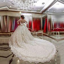 Luxury White Ivory Lace Wedding Dresses Bridal Gowns Size 2 4 6 8 10 12 14 16 ++