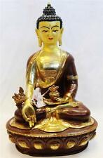 "F650 Exclusive Gold Plated Copper Statue of  Medicine Buddha  13"" Handmade Nepal"
