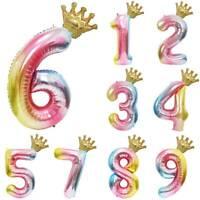 40 inch Number 0-9 Foil Balloon Crown Digit Air Ballon Birthday Party Decor HOT