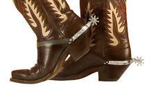 Argento & Nero Cowboy Wild West Speroni per stivali Costume Accessorio