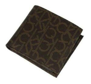 Genuine Calvin Klein Ck Men's Leather Bifold Id coin case Wallet BROWN