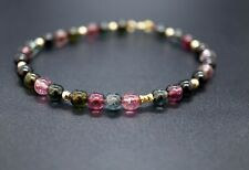 Natural Multi-color Round Beaded Tourmaline Bracelet 5.2mm 7'' Gift for Her