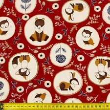 100% Cotton Foxes, Owls, Bears, Bunnies Red Fabric Fat Quarter Quilting FQ #0086