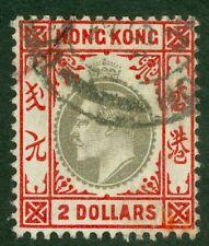 SG 73 Hong Kong $2 ardesia & Scarlet. molto BELLO USATO CAT £ 375