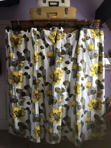 Vintage Curtains 1950's Barkcloth Pair Of Floral Curtains Yellow Wht Green Grey