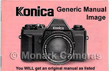 Konica Auto S Camera Instruction Book More Manuals Listed.