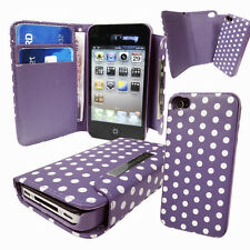 Polka Dot PU slim leather Wallet Cover with Magnetic Detachable Hard Case 2 in 1