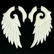 Fake gauges piercings spiral plug tunnel  horn bone organic F118 stainless 1pair