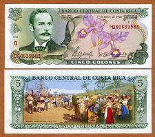 Costa Rica, 5 Colones, 1990, P-236e, UNC -> colorful, orchids, seaport, market