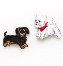 Sass & Belle Dachshund & Westie Dogs Embroidered Applique - Iron On or Sew